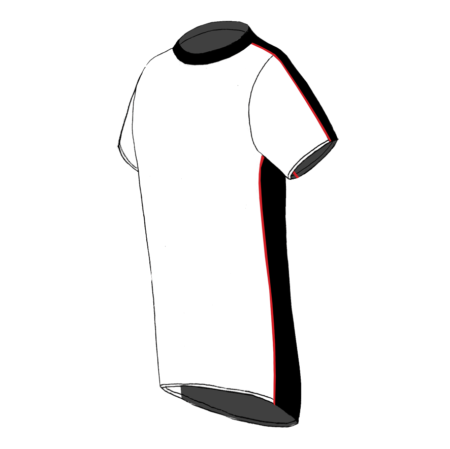 Melbourne T-shirt  white-black-red_SIDE