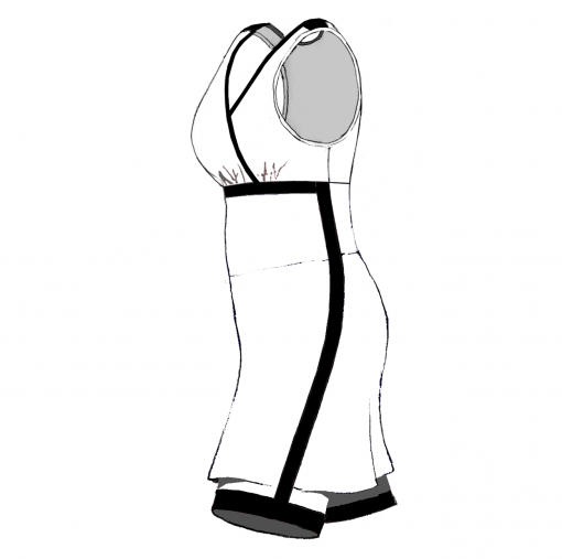 SARAH-Combat Dress-White-black-Woman_SIDE