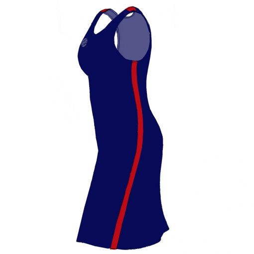 Supporter – Kjole- marine-rød – SIDE